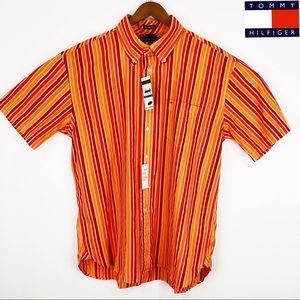 "80""s 2 Ply Fabric orange strip button down shirt"